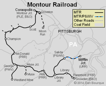 Montour Railroad system map