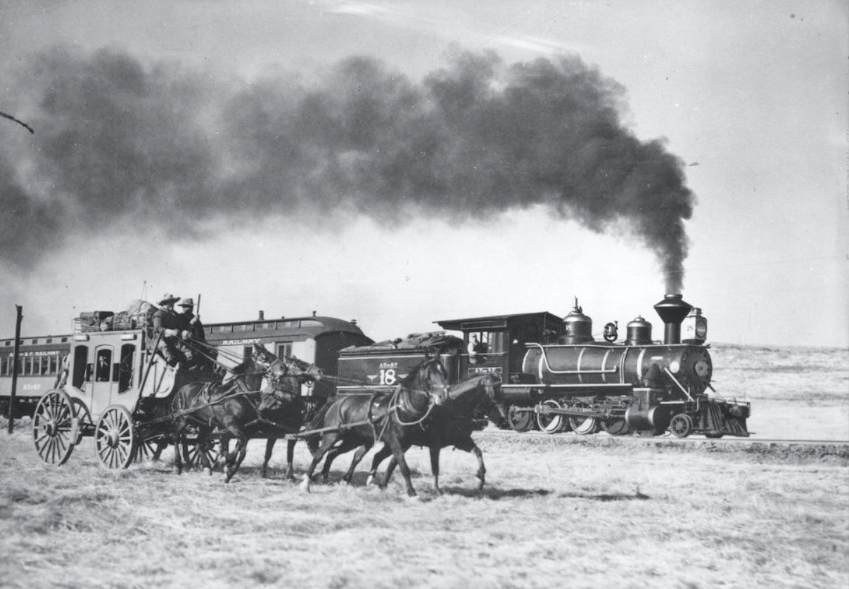 AT&SF Ry engine No.18 & stagecoach