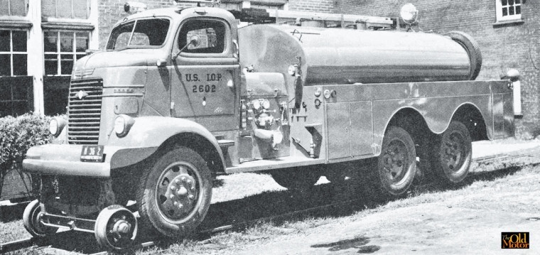 Dodge COE chassis outfitted as a military fire truck.