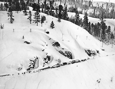 Chopper view of the City of San Francisco buried in snow-Donner Pass.