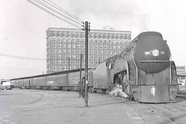 Class J 4-8-4 #611 with the early morning Roanoke train at Norfolk Union Station circa 1957.