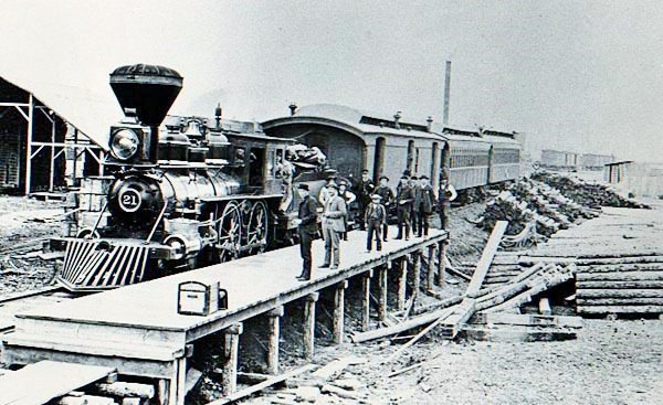 CM&StP R.R's first passenger train to arrive at West Merrill, Wisconsin, May 18, 1885.